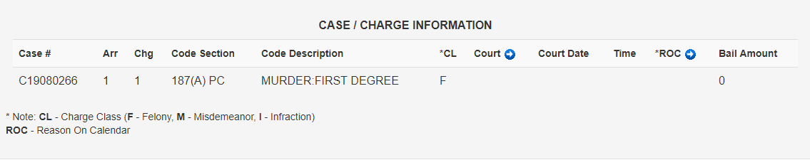 Murder in the first degree - Felony (No bail)