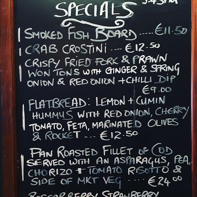 This weekends Specials at Cru  #eatlocal #localproduce #specials #kinsale #wildatlanticway #winebar #bistro