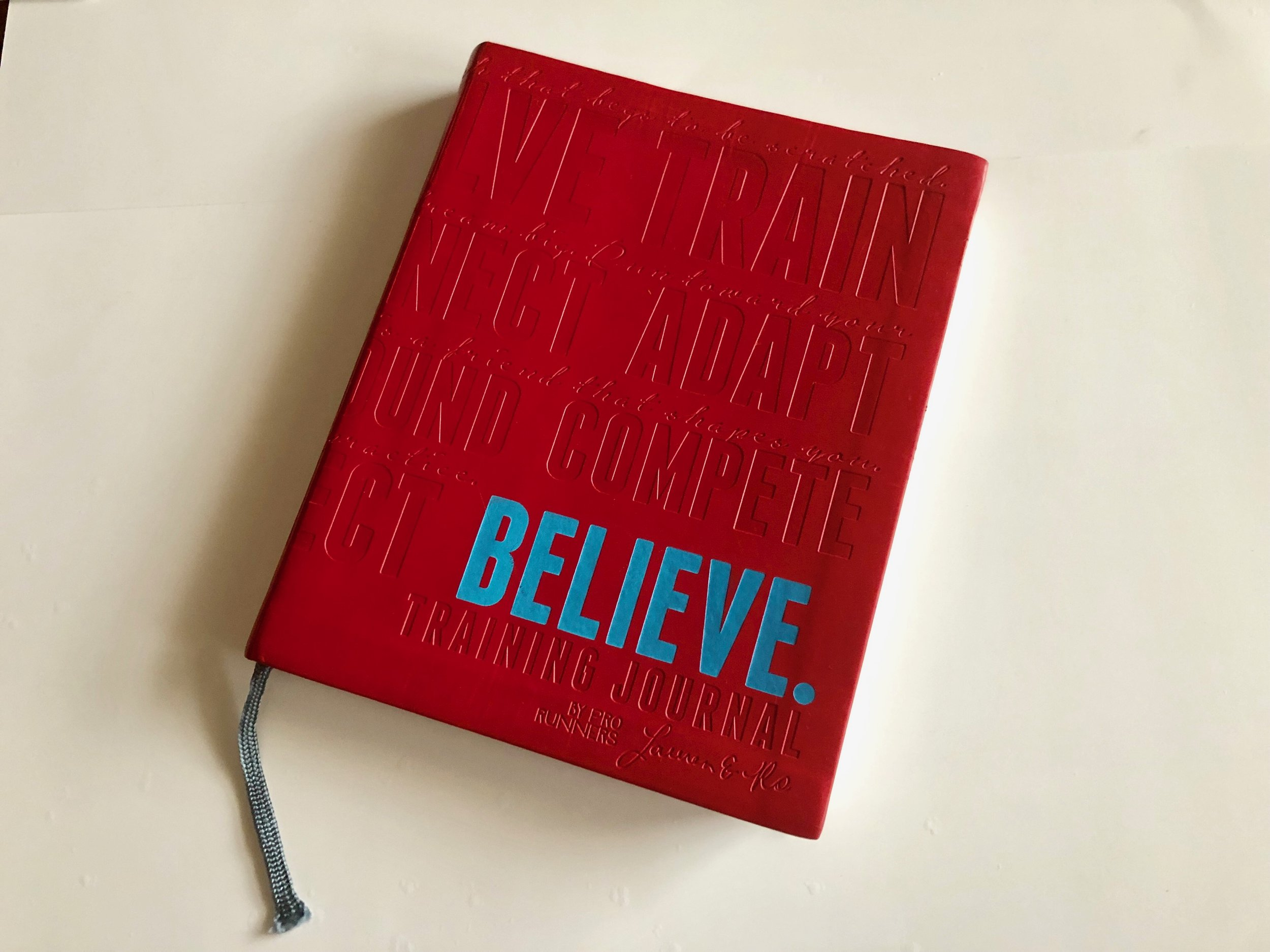 Jennifer's copy of the  Believe Training Journal