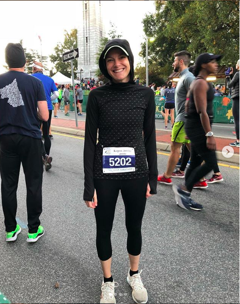 Here I am with LOADS of race-day jitters at the start of my half marathon this past November.