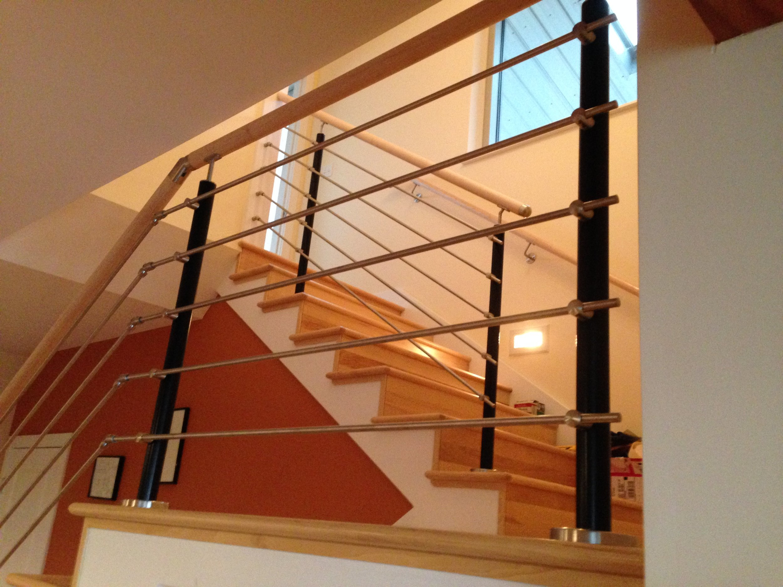 Stair with stainless railings