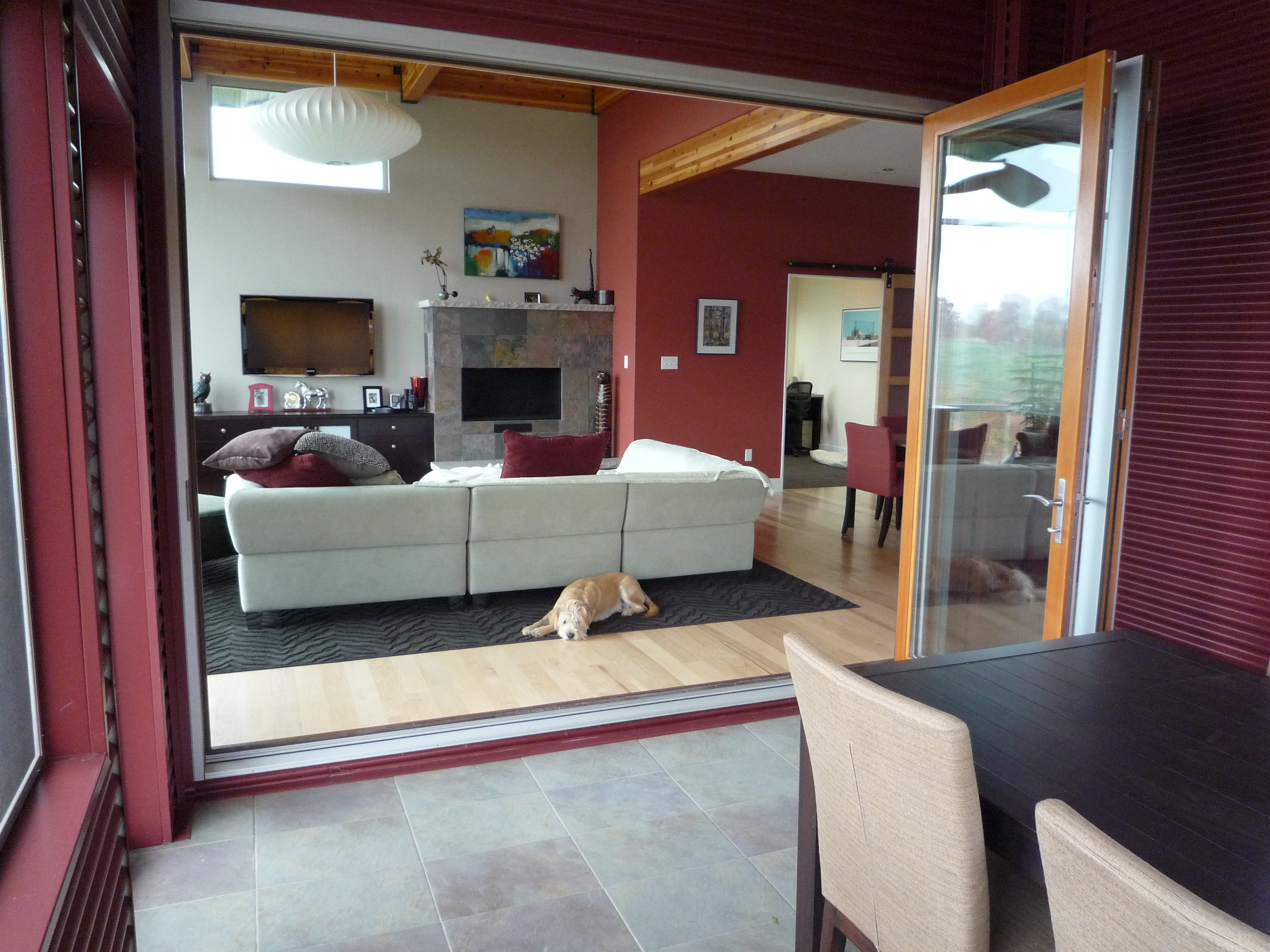 Screened Porch to Living Room through folding patio doors