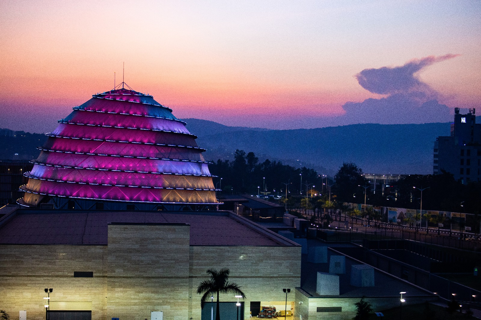 View over Kigali's Convention Centre from Westerwelle Startup Haus' rooftop terrace.