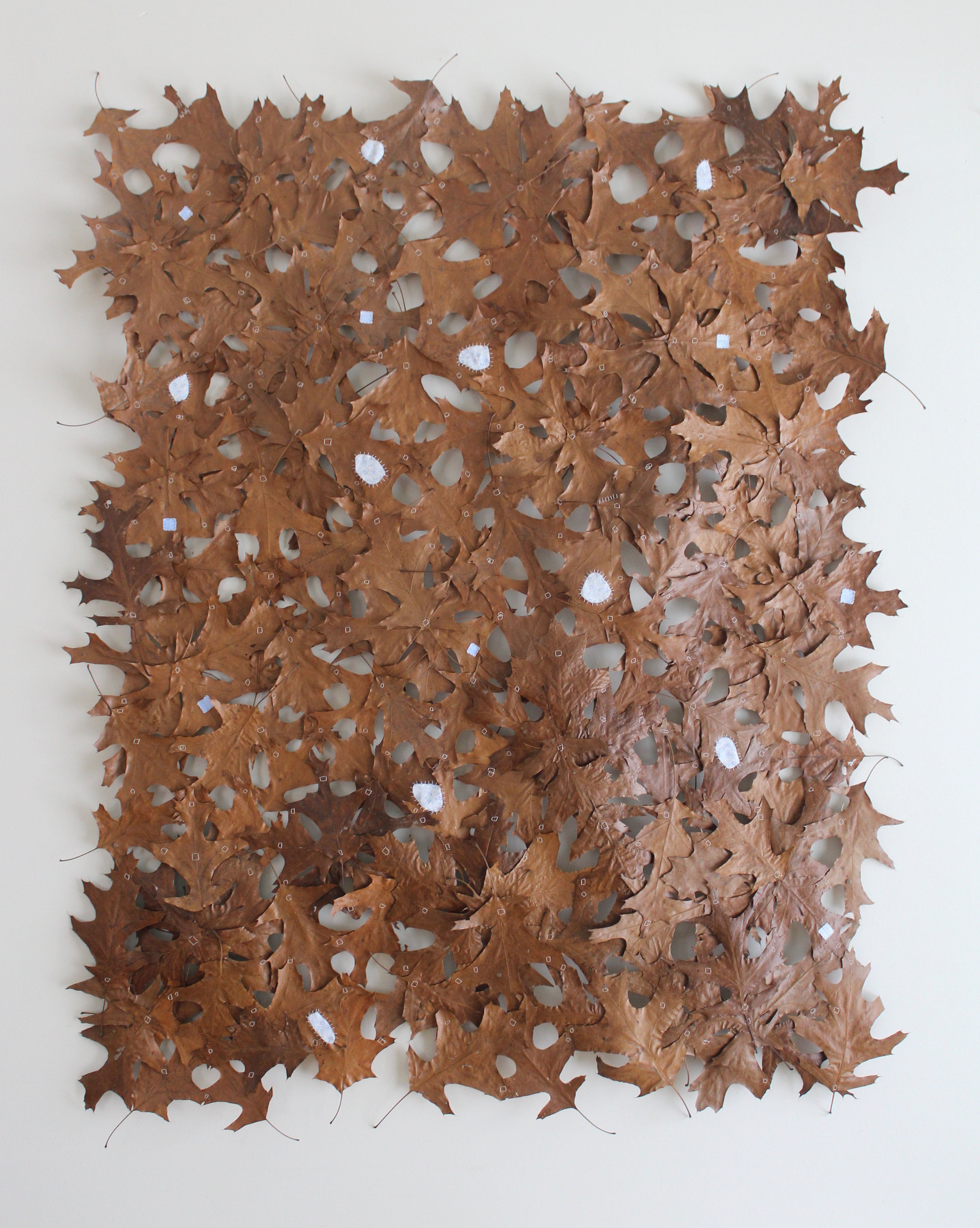 """THE WILD AND WONDERFUL MAKE DO, oak leaves, thread, fabric remnants, gesso, oil stain, 48"""" x 60"""""""