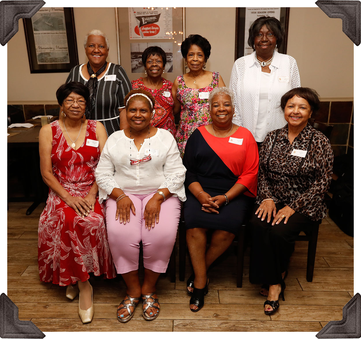 Class of '68 - Standing: Gwendolyn Shepherd, Cecile Scorza, Elaine Stovall and Joyce Armstead  -- Seated:  Mary Alice Billington, Marcella Williams, Jerrylean Merridy and Inez Villavaso
