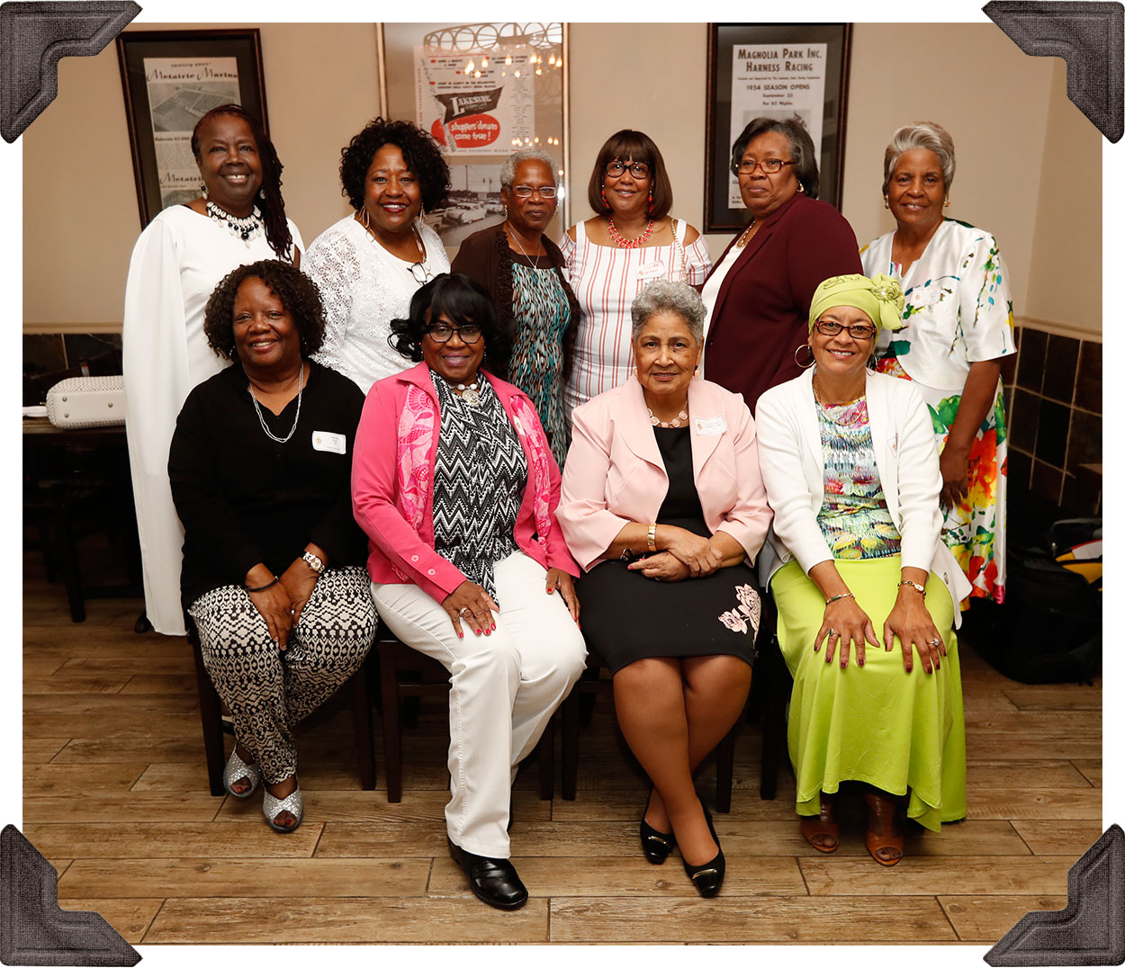 Class of '70-Standing: Hilda M. Smith, Connie Payton-Nevels, Gail Collins, Brenda Wilson, Dorothy Weathersby, L.Vee Berry-Seated: Merial Hall, Therse White-Sears, Lorraine Washington and Joyce Nu'Man