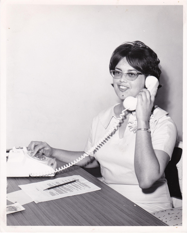 '67 Patricia Thompson talking to Regina Pryor, Secretary to Johnny Carson