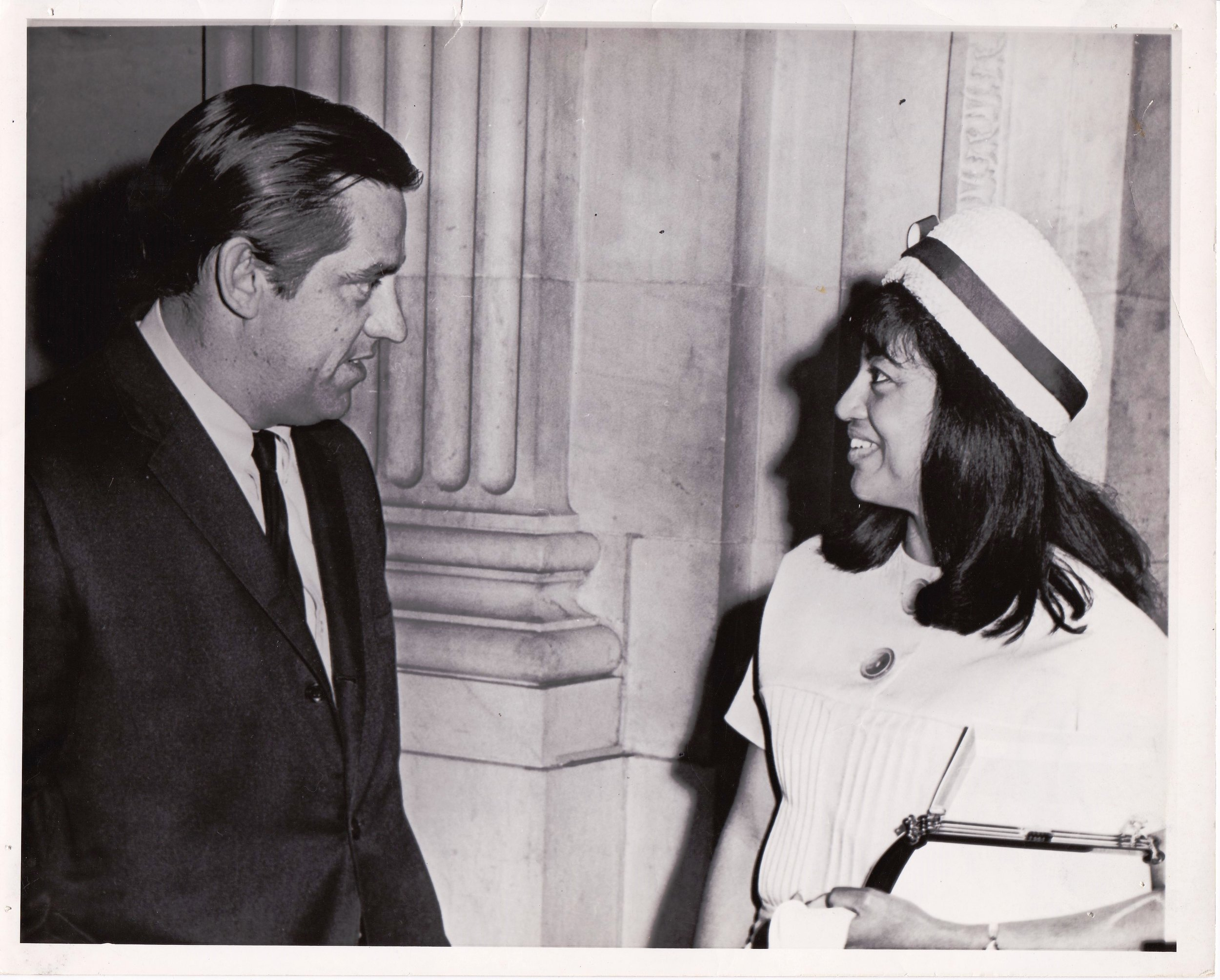 Senate Subcommittee Hearing in 1968, Senator Fred Harris and Myralin LaCabe '66