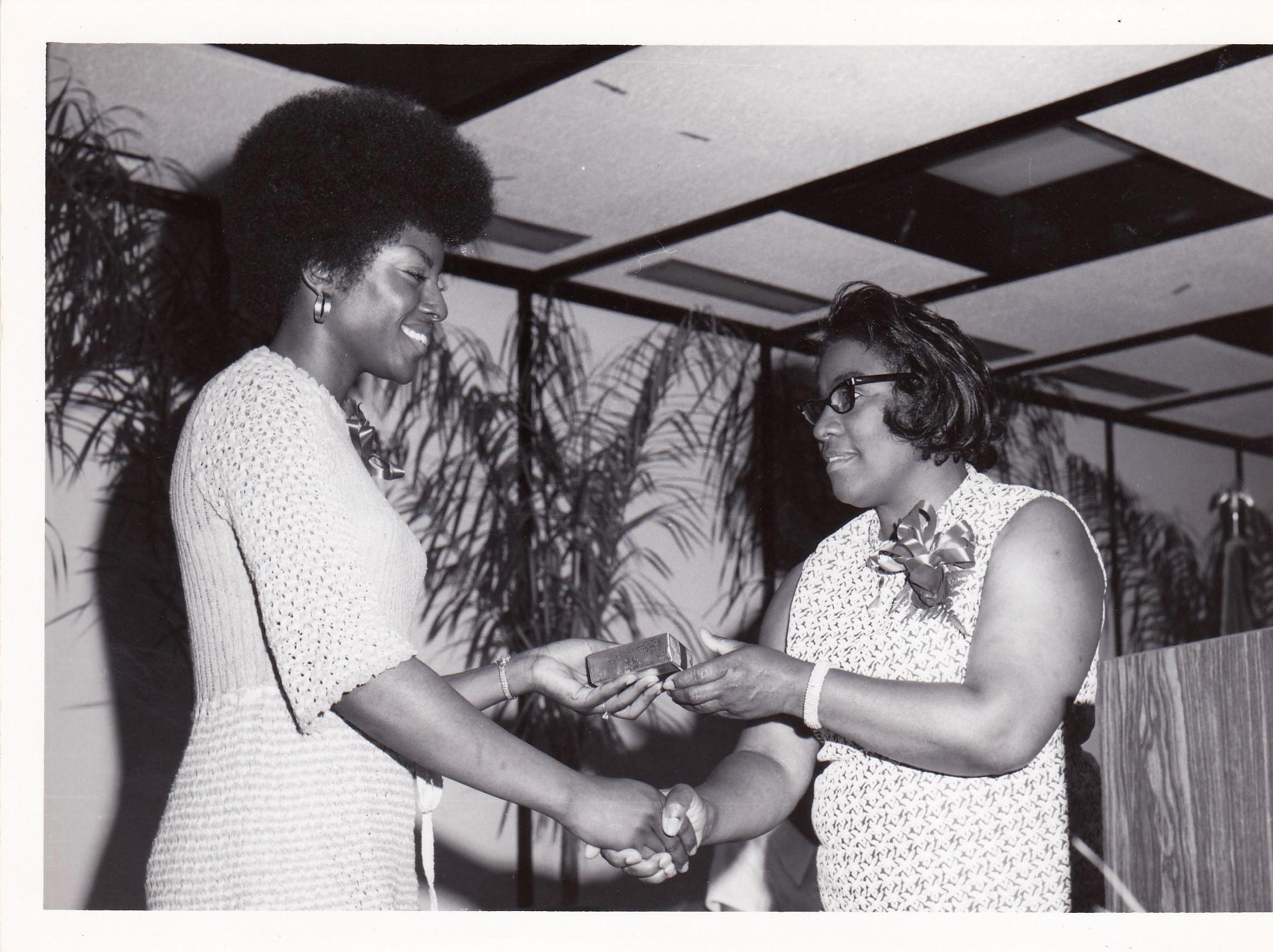 1972 AEC Graduation: Carolyn Bell '72 and Bernadine Irving '66