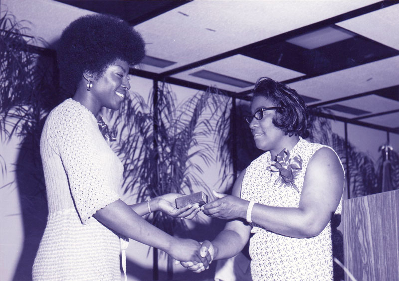 1972 Adult Education Center Graduation with Carolyn Bell (Class of '72) and Bernadine Irving (Class of '66)