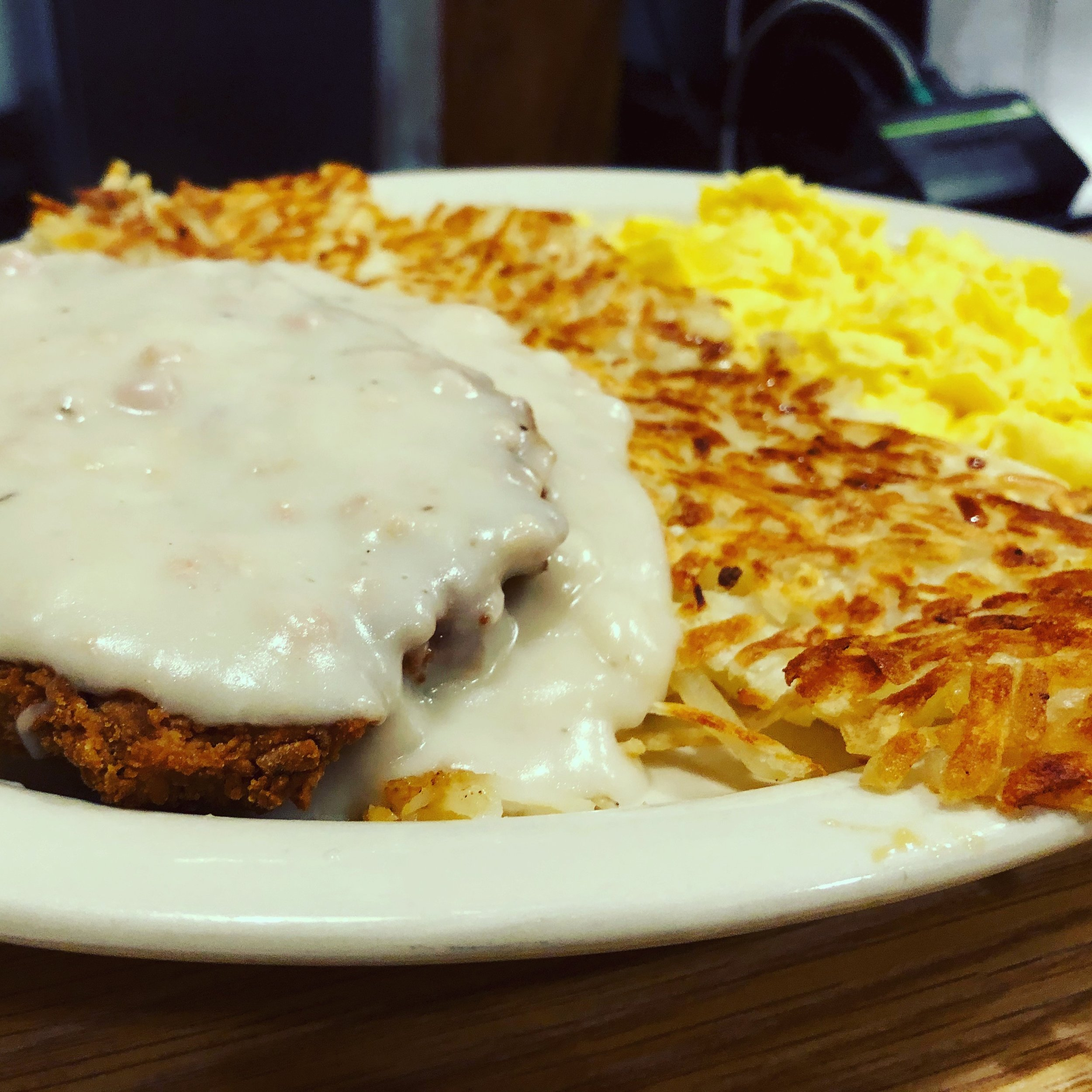 Chicken fried steak, hashbrowns, scrambled eggs