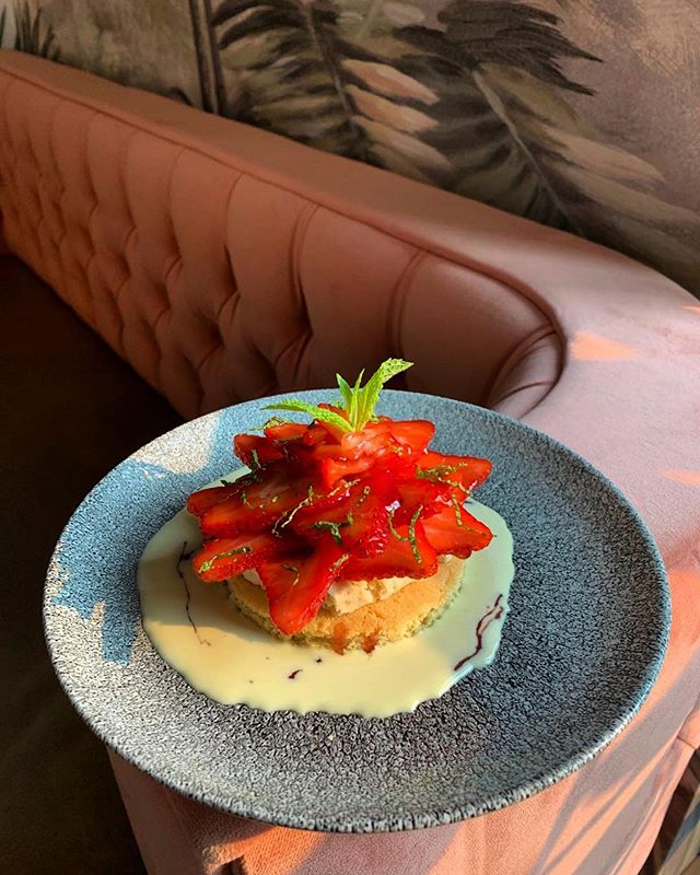 New desserts menu starting tonight!  Caption: Gâteau Breton with almond cream and strawberry petals 🍓 Our ♥️ go boom  Congratulations @chefcyrillecouet and Pastry Chef John