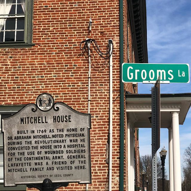 Did you know we are located right next to Grooms Lane in #elktonmaryland? :) Here is the #historicalsociety sign detailing a bit of the history of our #weddingvenue! #groom #bridalshower #historical #cecilcounty #elopement #elopementvenue #elopementvenues #elopementwedding #cecilcountywedding #elktonmd #revolutionarywar #revolutionarywarhistory #americanrevolutionarywar