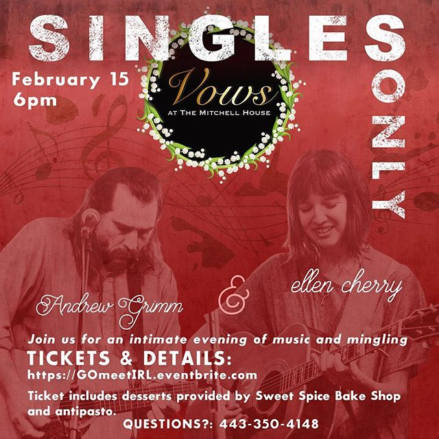 Are you single and looking for something to do for Valentine's day? Visit our almost 250 year old event venue, meet new people and enjoy an intimate concert featuring the storytelling musical style of Ellen cherry (@malaptica) and Andrew Grimm (@junestarband). Delicious antipasto and desserts provided by @sweetspicebakeshop! #singlesevent #marylandsingles #marylandconcert #valentinesday2019 #valentineevent #single #singlelife