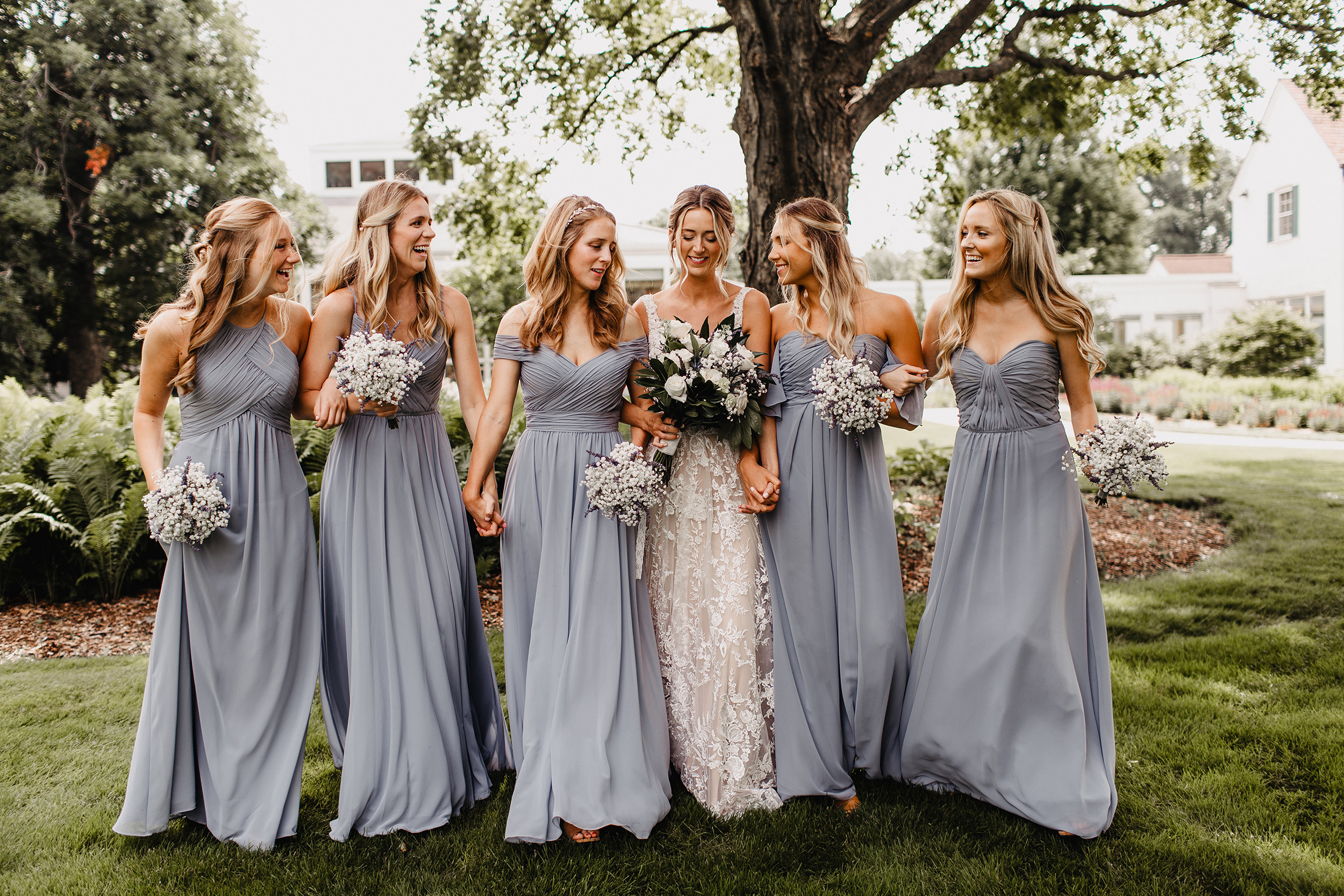 Phoebe's bridesmaids wore mixed MoriLee styles