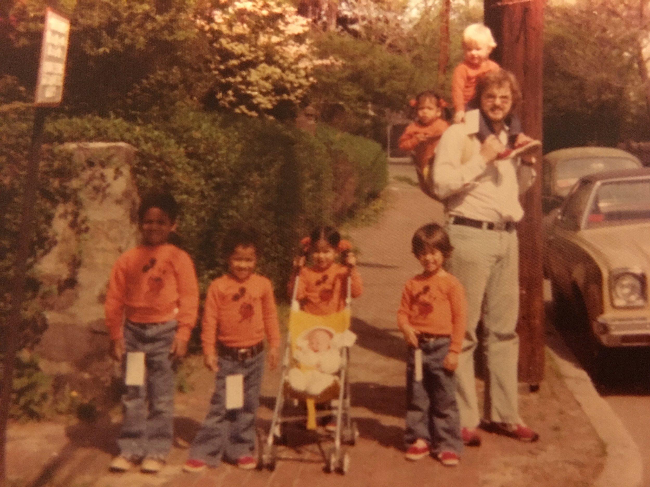 7 under 7 ~ circa 1976 Tage, Peik, Kari (pushing Britta), Jens, Dad with Siri & Anika