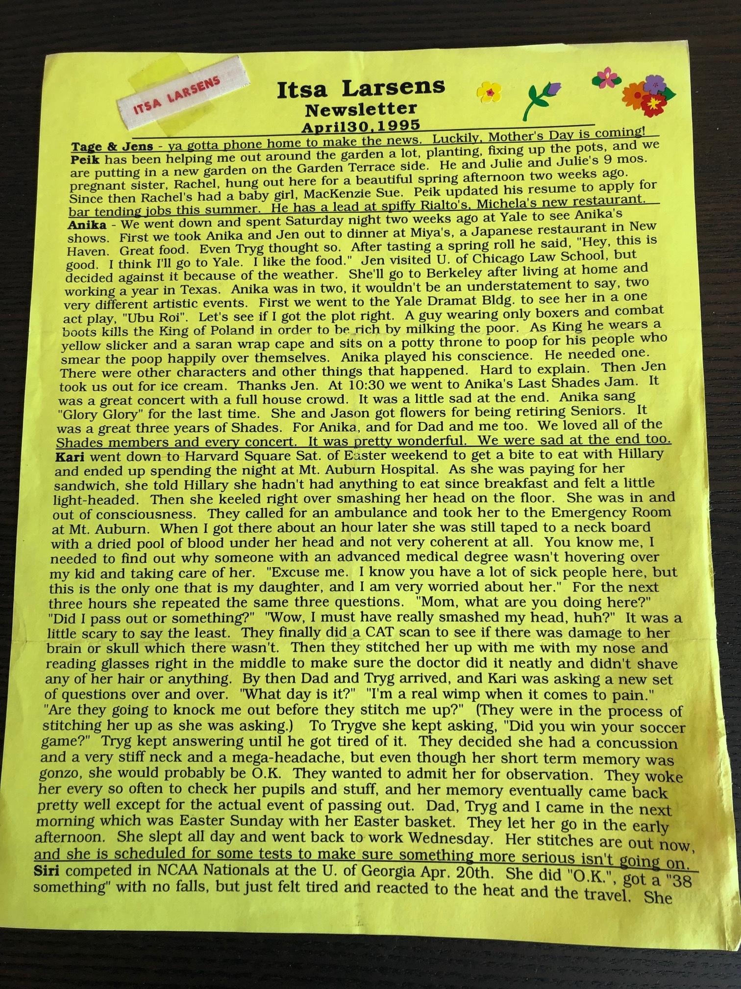 Itsa Larsen Newsletter ~ April 30, 1995