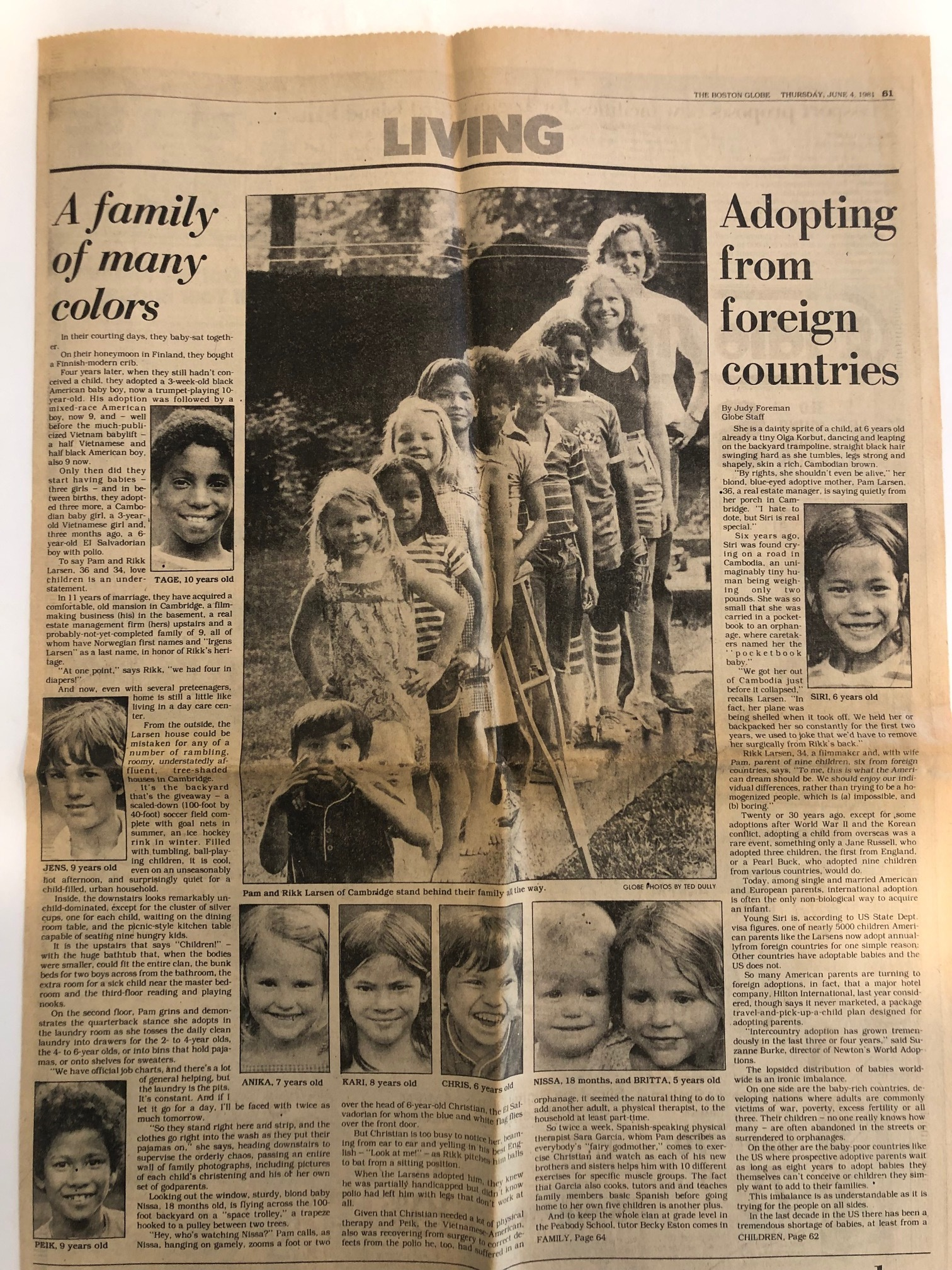 """The Boston Globe ~ June 4, 1981 """"In their courting days, they baby-sat together. On their honeymoon in Finland, they bought a Finnish-modern crib. Four years later, when they still hadn't conceived a child, they adopted a 3-week-old black American baby boy, now a trumpet-playing 10-year-old…"""""""