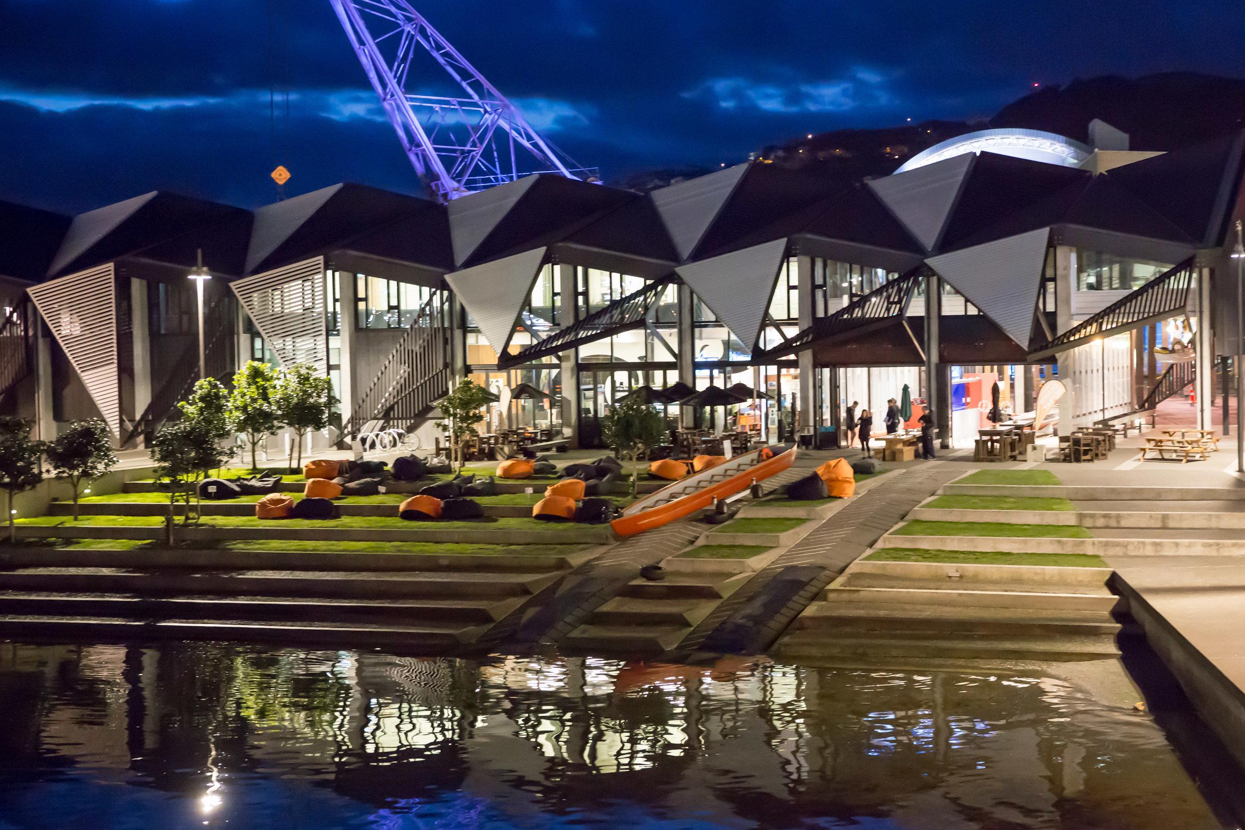 Wharewaka Function Centre at night