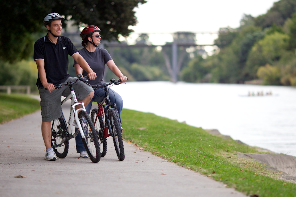 Cyclists along river paths in Hamilton.jpg