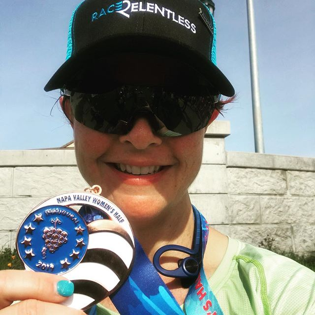 Congrats to our athlete Julia for having an good time while sneaking in a half marathon in Napa Valley!  @napawomenshalfmarathon  #medalmonday #napavalley #halfmarathon #chuckie #racerelentless #winetasting #racing . . And Julia thanks for coming to @relentlessaa house for a few days before the race to hang out and train!
