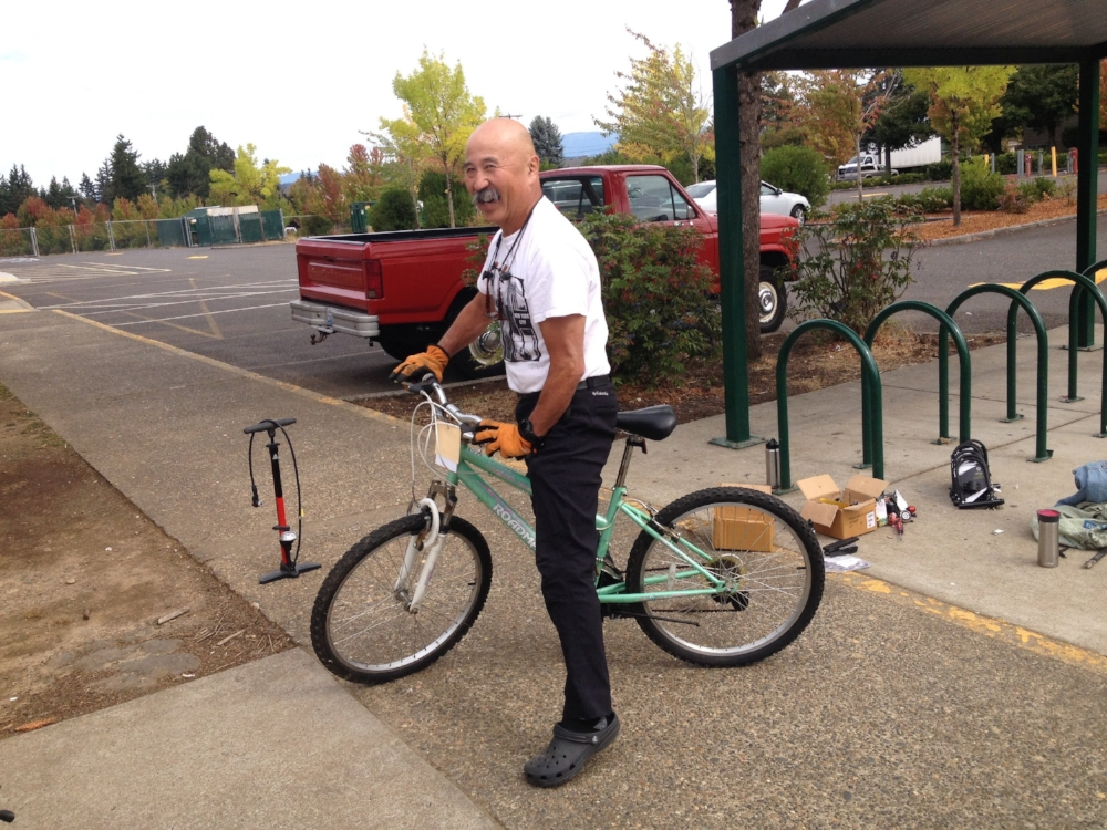 Norm, one of our board members, test riding one our bikes