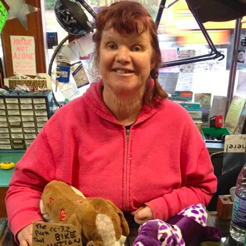 Lori - Lori works as a Shop Assistant and Shop Host at B4H. She likes to work on bikes and says her mascot Missy likes working here too. You can catch Lori and sometimes Missy running the show Thursdays and Fridays.