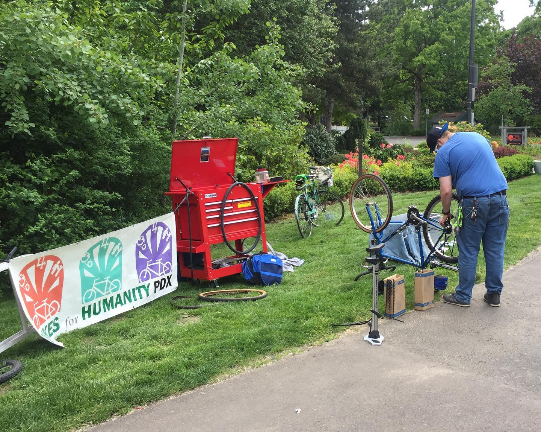 Jon getting ready fix all the bikes.