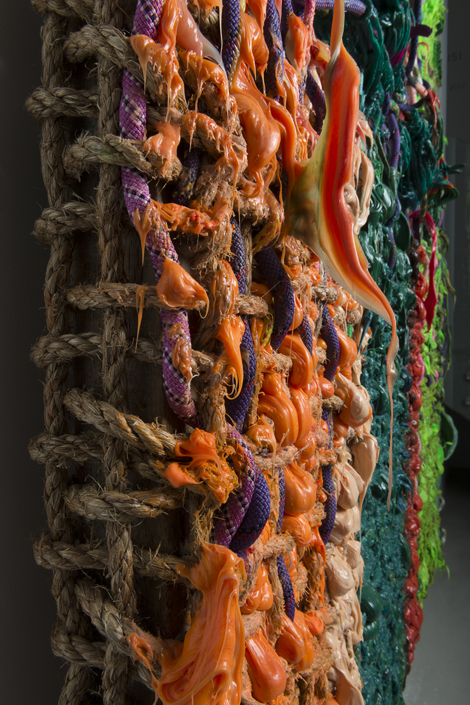 Re-accomodation Abstract Paintant, 2016, (detail)  190.5 x 157.48 x 20.32 cm | 75 x 62 x 8 in  Hand woven manilla rope, climbing rope, alkyd paint, silicone, wood, 3d printed plastic