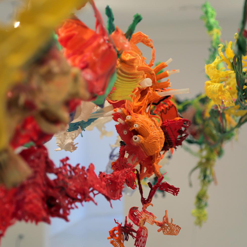 3DEP2 (Three Dimensional Environmental Painting #2), detail  Family Group Cluster Swarm, 2016  Galeria Joan Prats, Barcelona, Spain