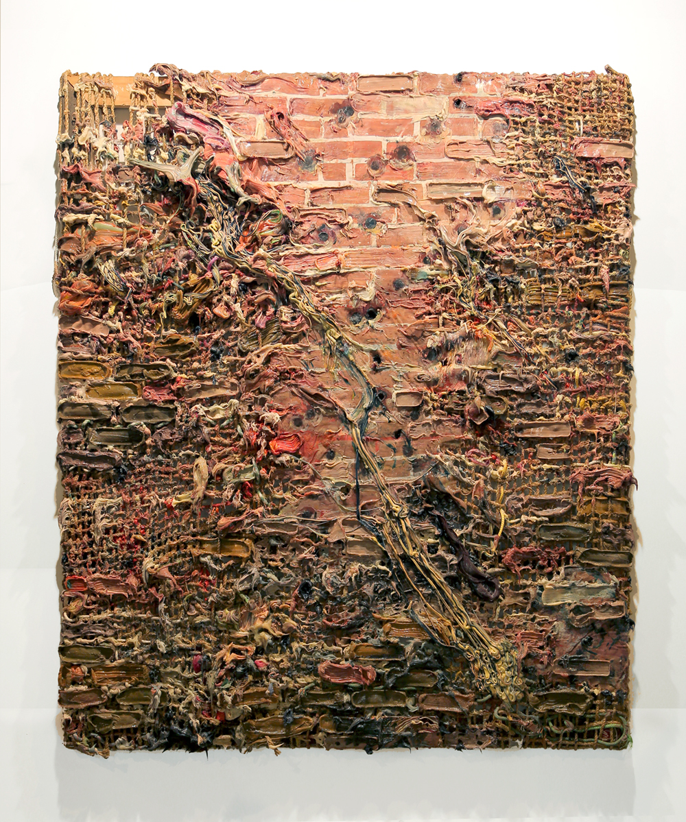 Firing Squad Wall, 2012  98½ x 84½ x 71/8 inch / 250,2 x 214,7 x 18 cm  Hand woven manilla rope, climbing rope, alkyd paint, silicone, wood