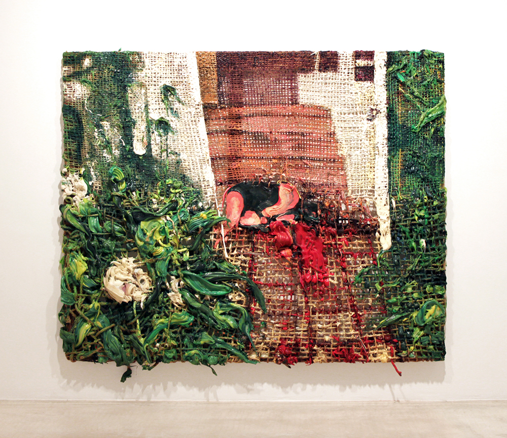 """Nicole, 2013  h. 61"""" x w. 74""""  Hand woven manilla rope, climbing rope, alkyd paint, silicone, wood"""