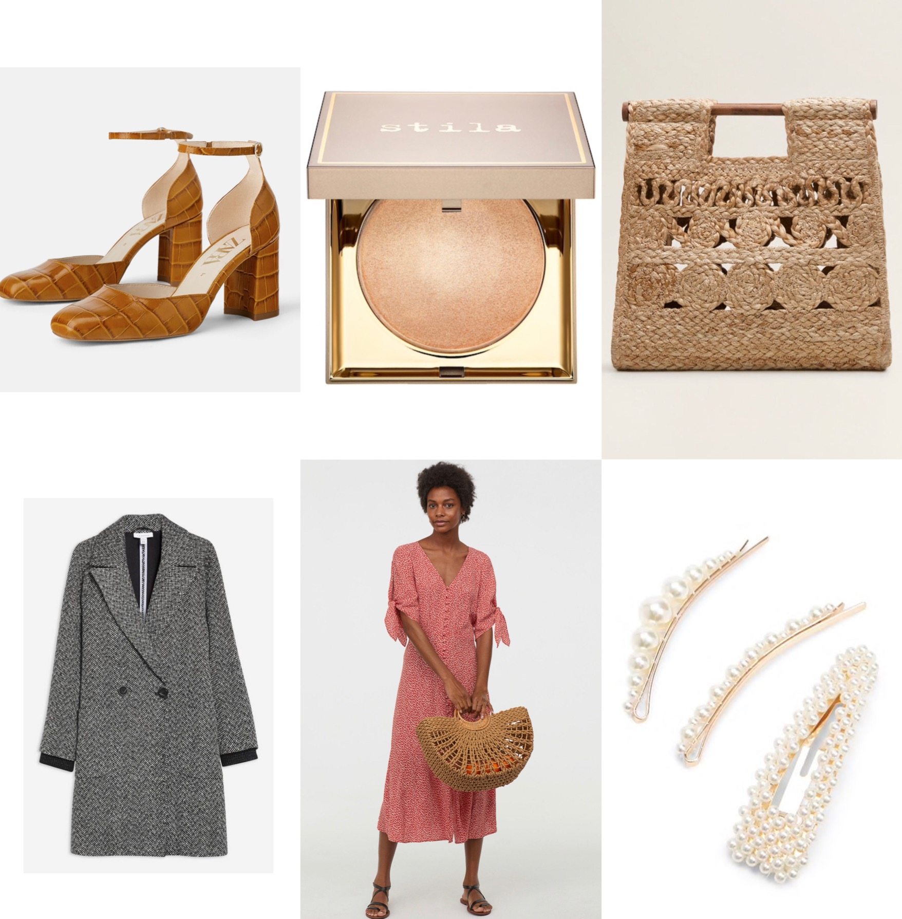 Weekly picks: - New items that are currently on my wishlist!1. Leather Animal Embossed Heeled Shoes2. Stila Heaven's Hue Highlighter in Brilliance3. Jute Handbag4. Herringboat Coat5.Creped Dress6.Faux Pearl- Embellished Hair Clip Set