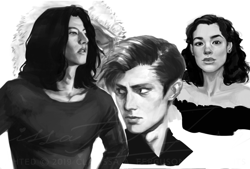 QUICK PAINTING - BLACK AND WHITE   PORTRAIT: $70 USD  WAIST-UP: $80 USD  FULL-FIGURE: $95 USD  EXTRA CHARACTER: $15 USD