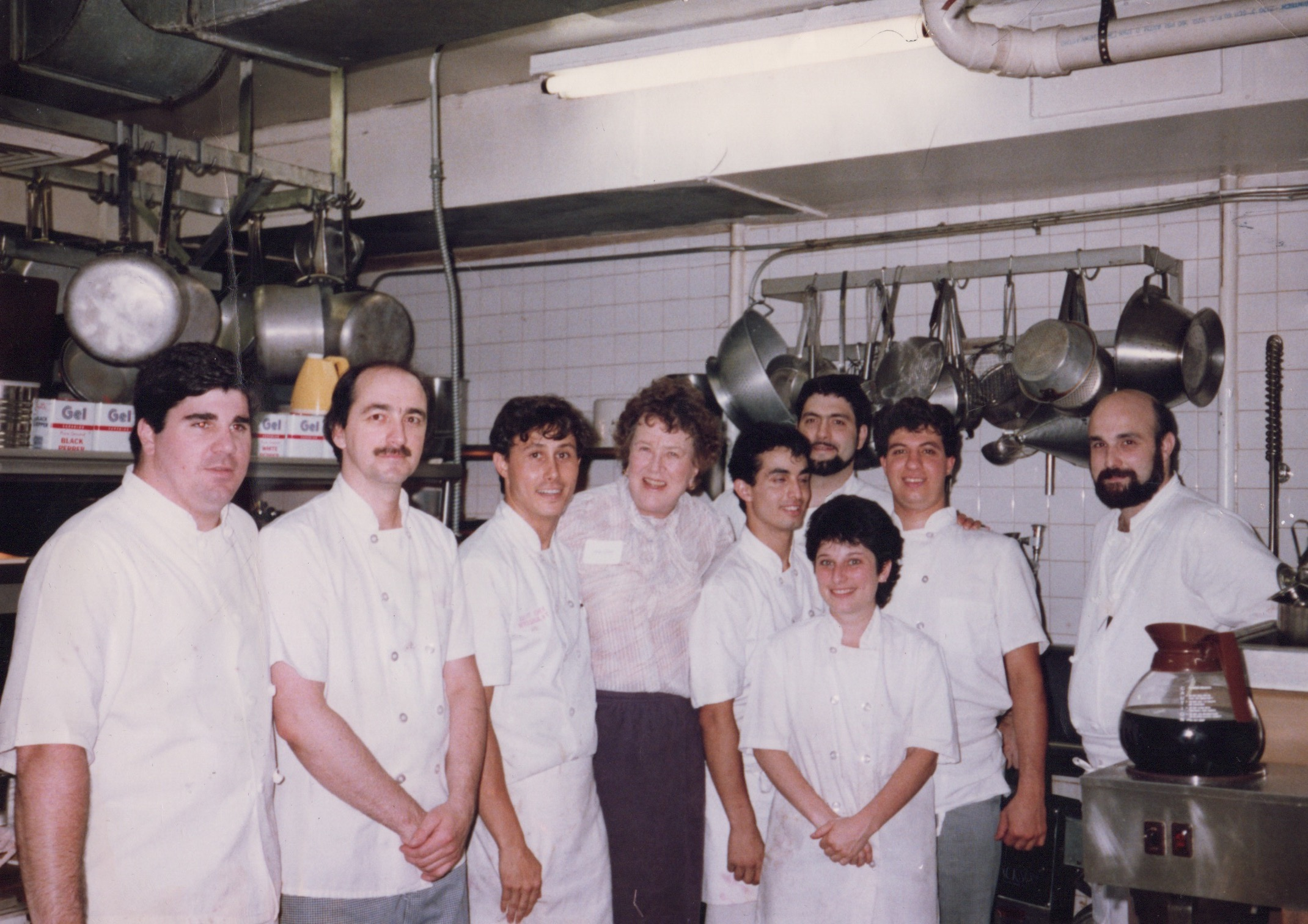 In the early 80s, Chef Rafael was working at the River Cafe. Photographed here with the staff and Julia Child.