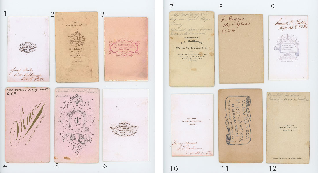 Figure 2. Reverse side of the same twelve reproductions from Figure 1. Note the 1870s and 1880s backmarks on some and the photoreproductions of the 1860s marks on others. Many have IDs written in pencil or ink.