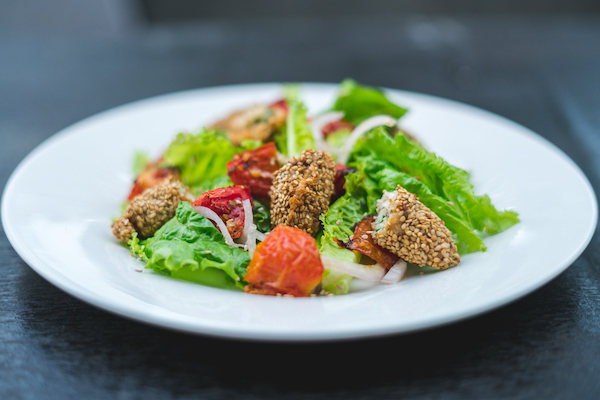 Seasonal salad with fish and sesame seeds - Changing daily, our seasonal salad comprises of our chefs fresh market finds. Please ask the waiter for ingredients of the day