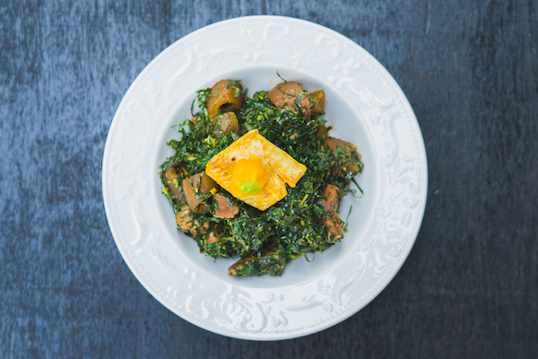 Eru & garry - A Boyangi vegetable dish with smoked beef and fish