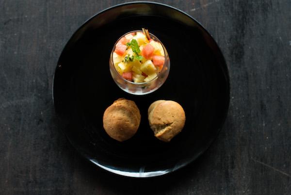 Fruit cocktail and mini cakes - A seasonal fruit cocktail with plain mini cakes
