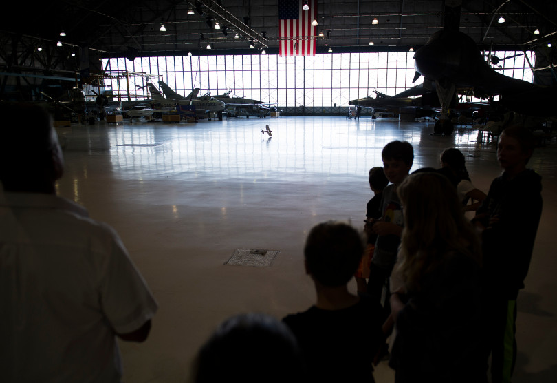 """Lead RC flight instructor Tom Neff, left, flies a """"RC trainer"""" during an open house to launch a first-ever Drone Project Friday, Sept. 7, 2018 at Wings Over the Rockies Air & Space Museum."""