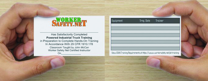 Worker Safety Net issues its own qualification cards as proof of training as required by OSHA.