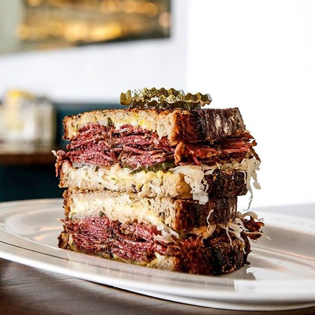 Stacked up... 📸 @timeoutsydney  Our famous Reuben w/ in house pastrami @pastramikings , krout, thousand ISL, pickles, swiss & mustard on NY rye 🥪🧀 Pssstt.. available GF/DF & Vegan ( 'if you don't know, now you know' )
