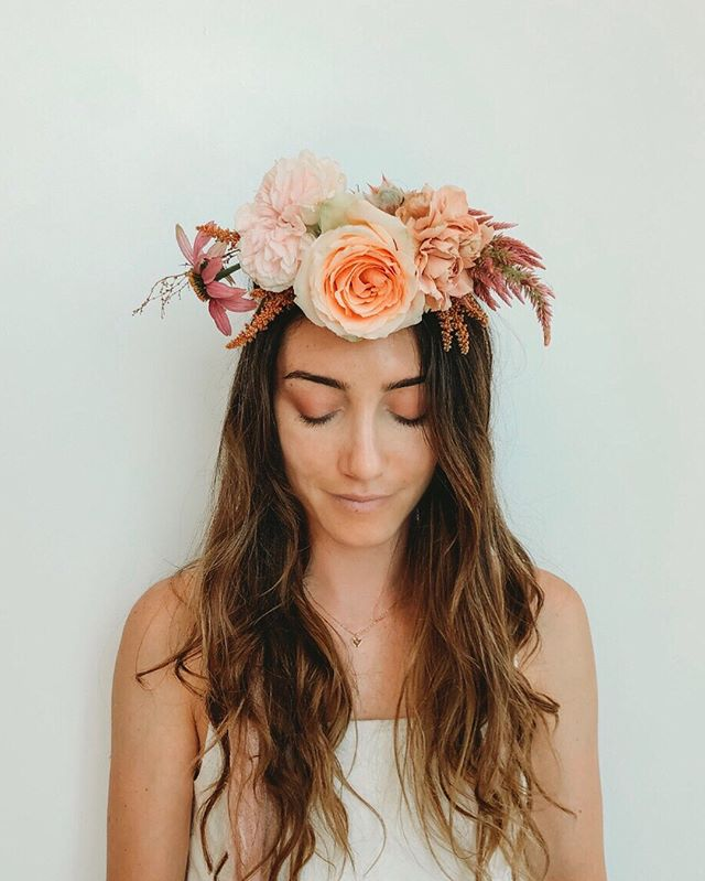 "To flower crown it or not. Brides always ask us our bridal crown thoughts but the answer is always, ""ummm YES PLEASE!!."" Especially if your as pretty as this gorgeous gal. ⠀⠀⠀⠀⠀⠀⠀⠀⠀ ⠀⠀⠀⠀⠀⠀⠀⠀⠀ ⠀⠀⠀⠀⠀⠀⠀⠀⠀ #bepresent  #weddingbouquet #weddinginspiration #weddingdetails #flowerlover #weddingplans #weddingplanningtime #bhldn #bridesmaidbouquet #martha_weddings #weddingchicks #greenweddingshoes #100layercake #oncewed #ruffledblog #flowerstyle #authenticwedding #graceloveslace #modernloveevent #intimateweddings #moodforfloral #underthefloralspell #bestfriend #weddingflowerinspiration #bhldnbride #ruedeseine #sandiegobride"