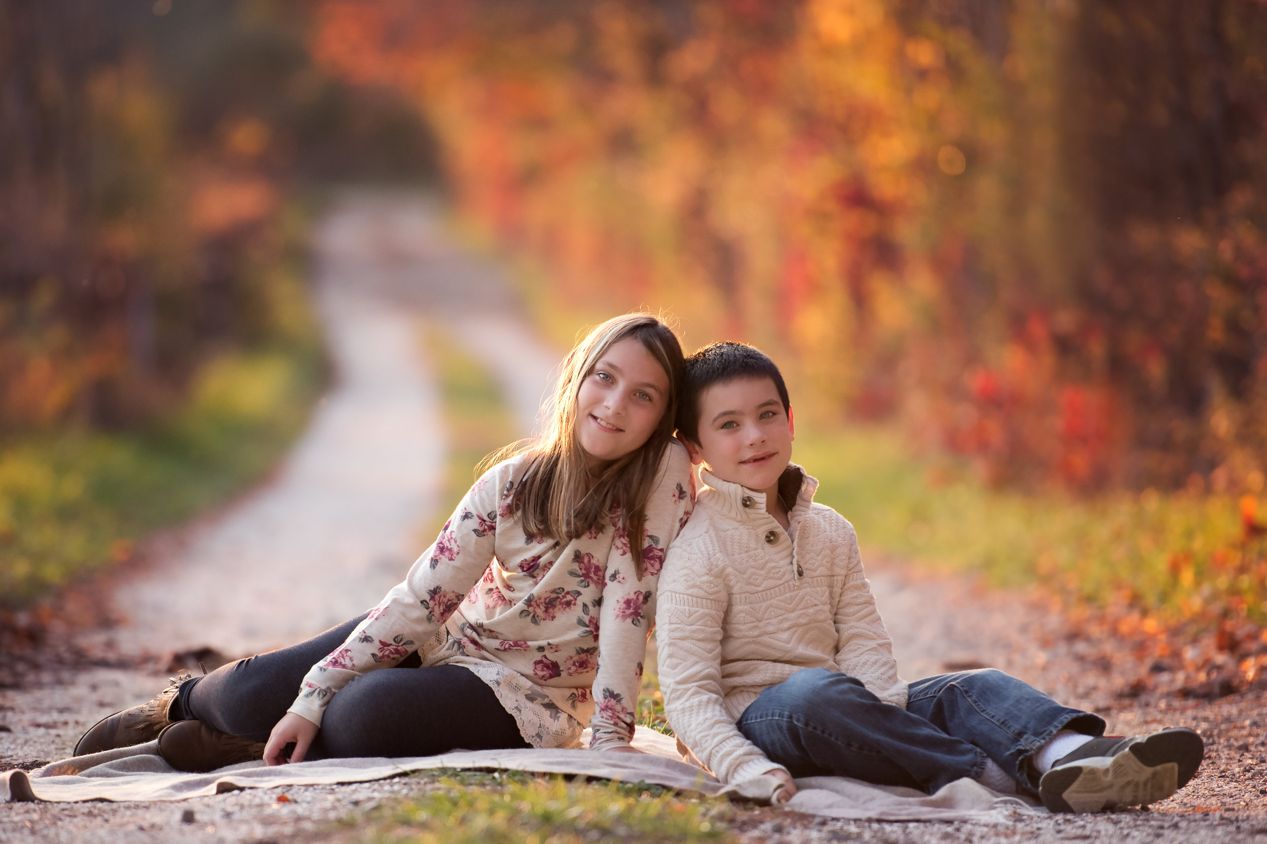 Brother and Sister on an Autumn Road