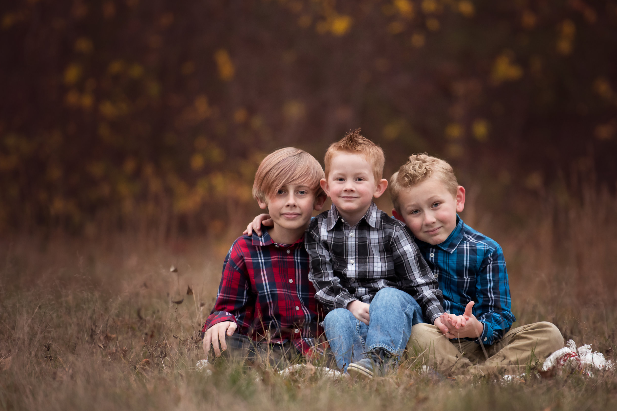 Three Brothers in Plaid in a Field