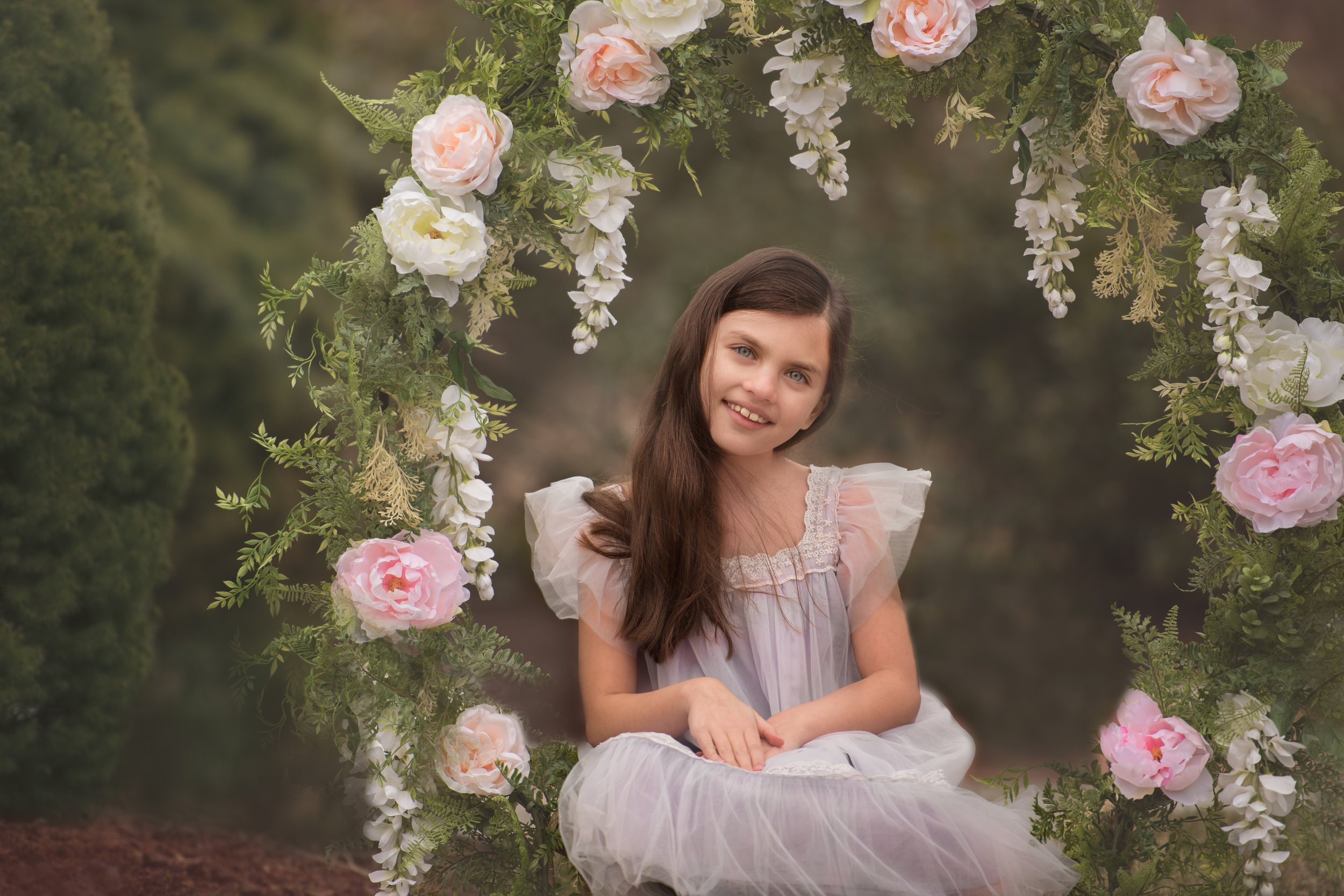 Girl in Dress for Floral Hoop Photo Session