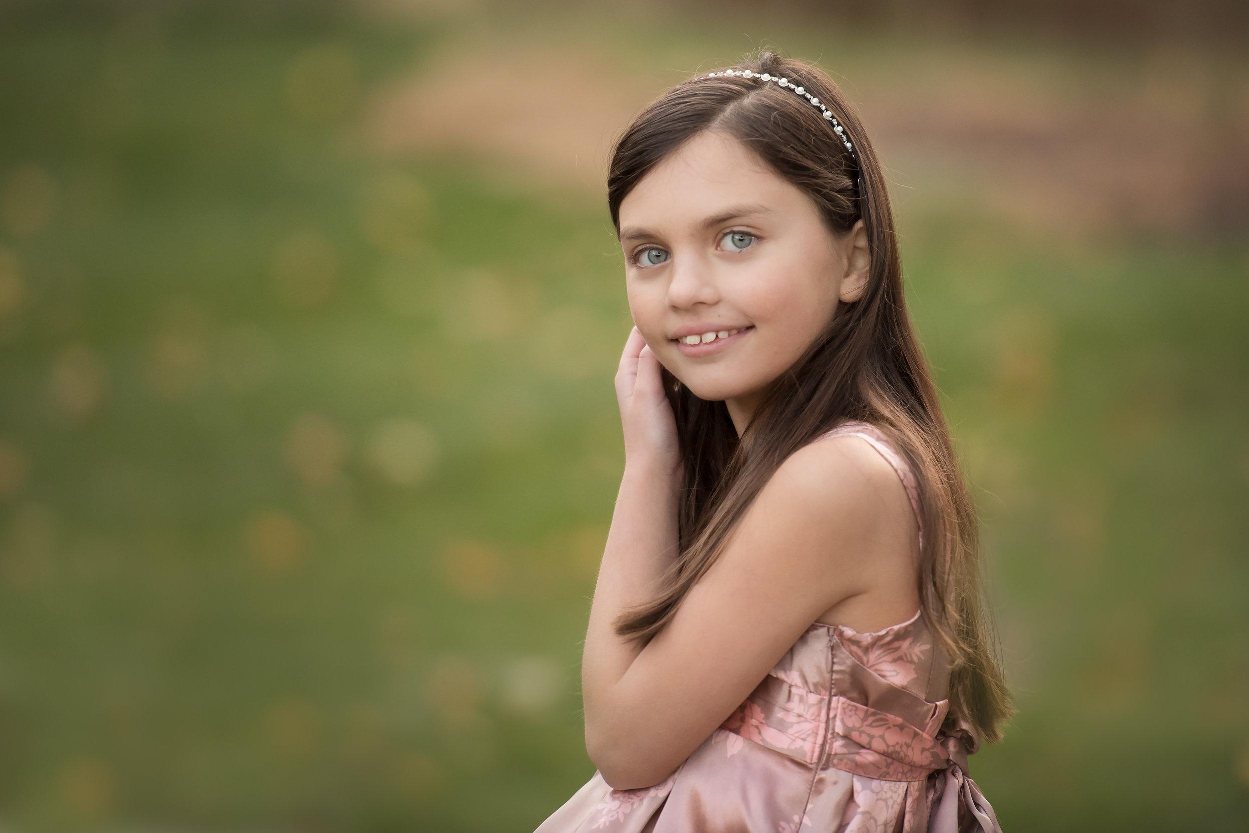 Girl in a Beautiful Dress and Headband