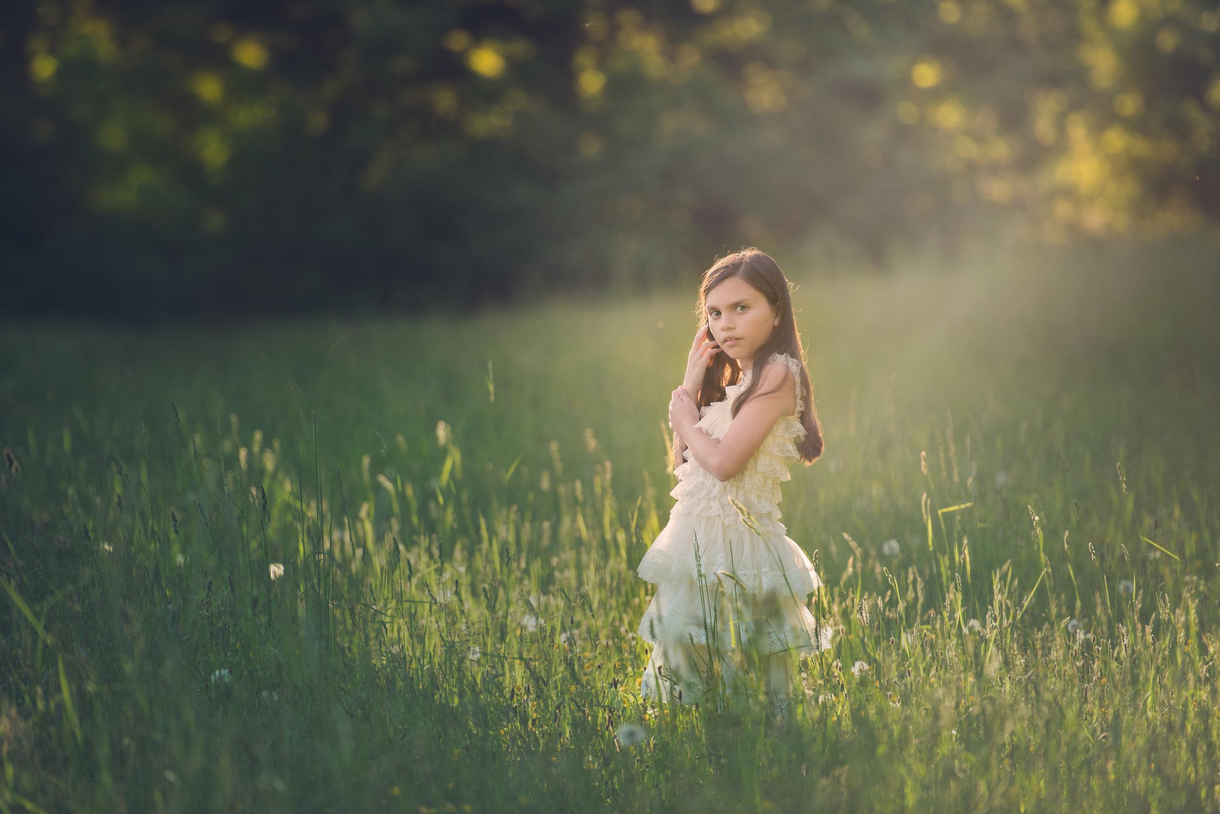 Girl in Dress in Spring Field NRT Sheep Pasture