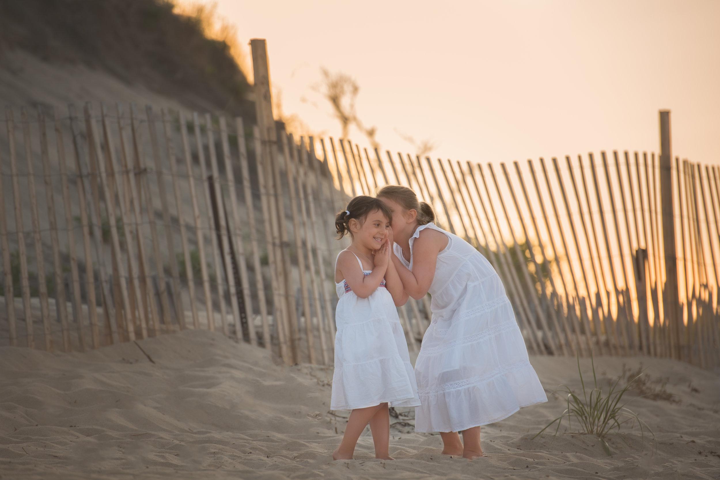 Girls Telling Secrets at Sunset Beach