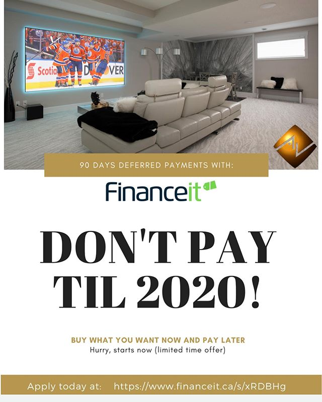 Buy Now, Pay Later!  https://www.financeit.ca/s/cRDBHg  #avworksyeg #smarthome #homeautomation #mountedtv #ledlights #hiddeninwallspeakers #yegsmallbusiness #updates #hometheatre #buynowpaylater #financeit #nopaymentstil2020